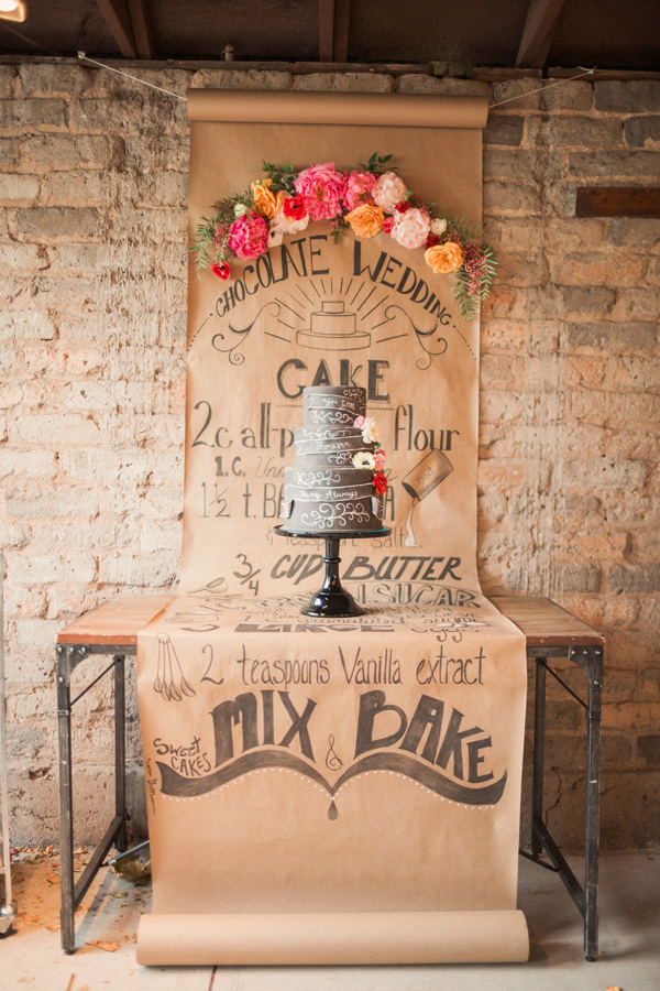 How To Create A Rustic Wedding Dessert Table - Brown paper calligraphy menu - photo by Gideon Photography http://ruffledblog.com/artist-chalkboard-inspired-wedding