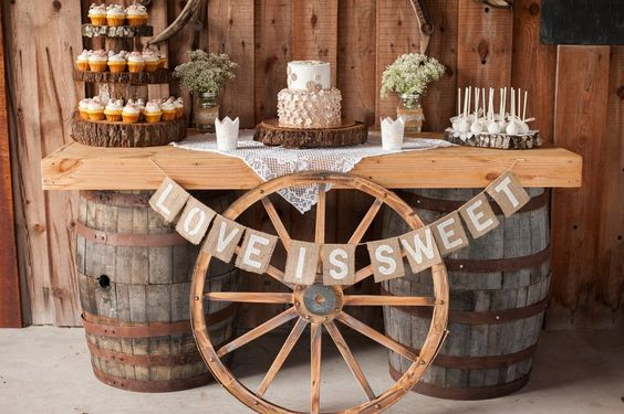 rustic cart wheel wedding ideas dessert table wedding