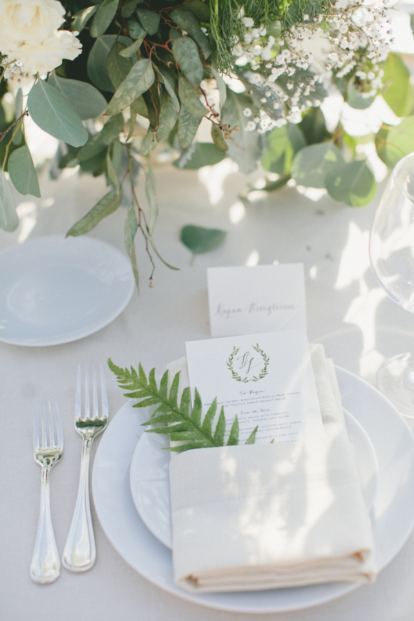 Fabulous fern wedding ideas - wedding place settings