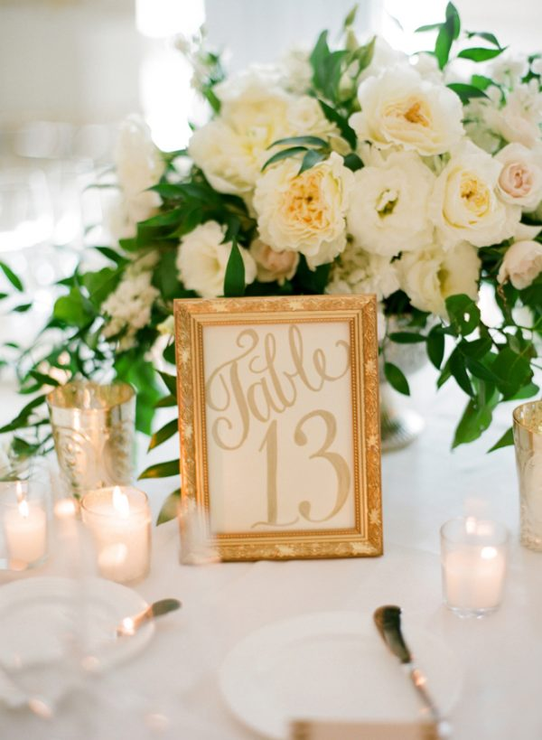 white and gold wedding table numbers
