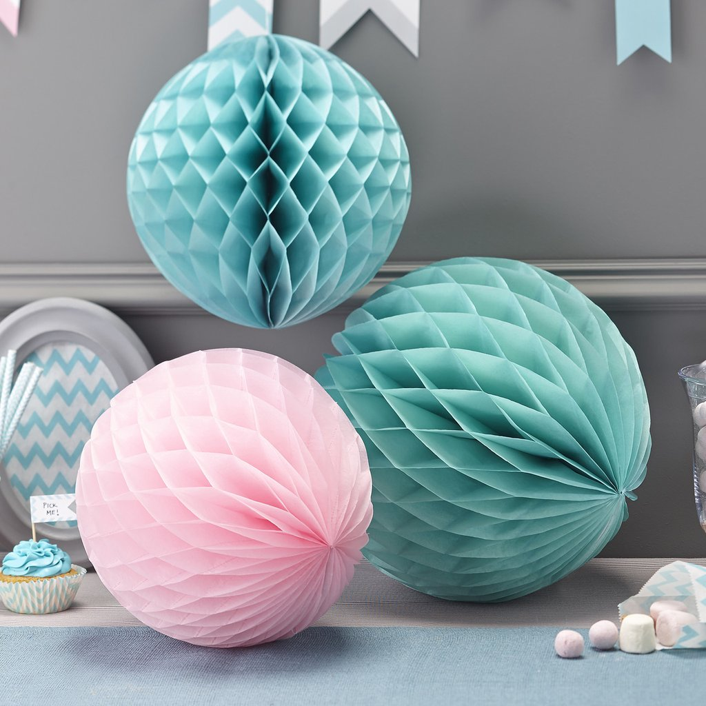 Top 10 Wedding Cake Table Decorations available to buy online from @theweddingomd Blush_Pink_Mint_Green_Paper_Honeycomb_Pom_Poms_Set_Of_3_1024x1024