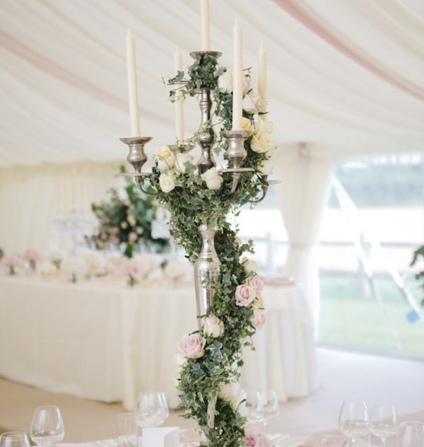 marquee wedding centrepieces foliage candelabra