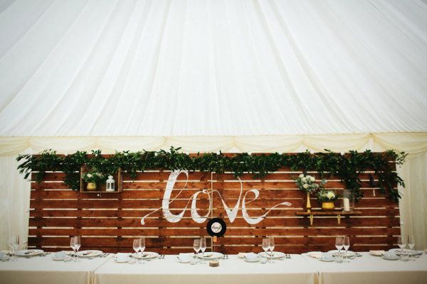 marquee wedding decorations top table wooden pallet backdrops