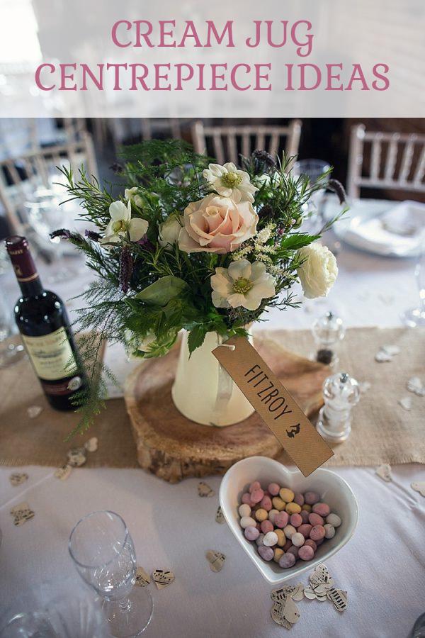 Cream jug wedding cetrepiece ideas