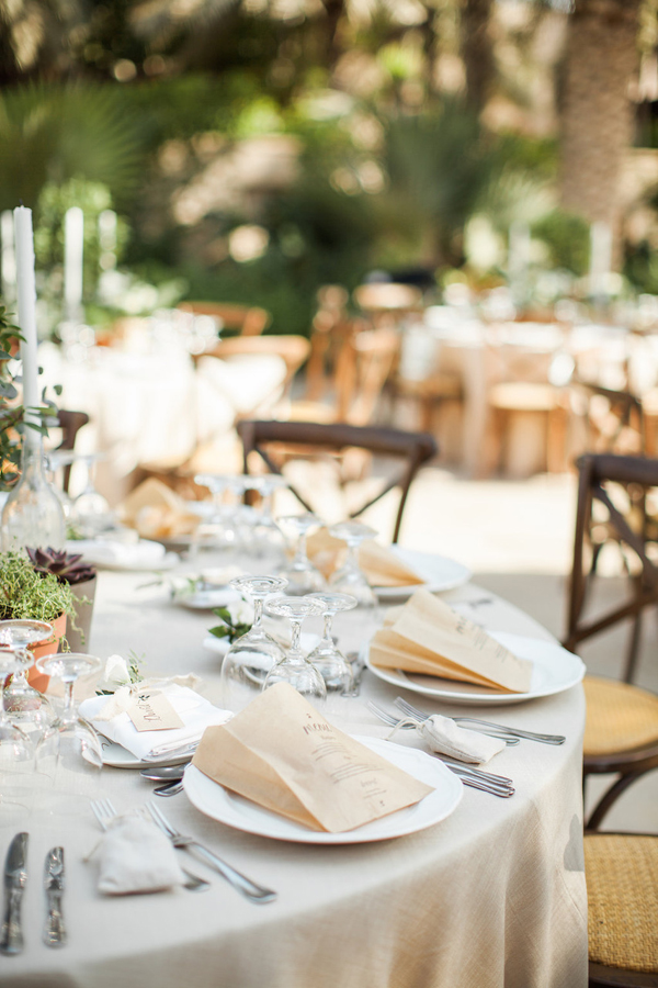 Rustic elegant alfresco wedding table decorations and place settings 1