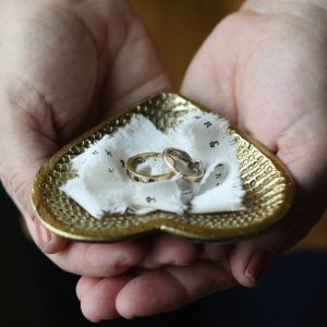 Gold heart wedding ring dish 1