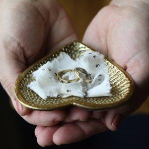Gold heart wedding ring dish 1