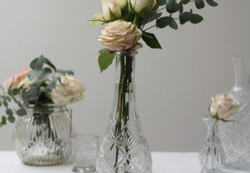 Tall Pressed Glass Vase