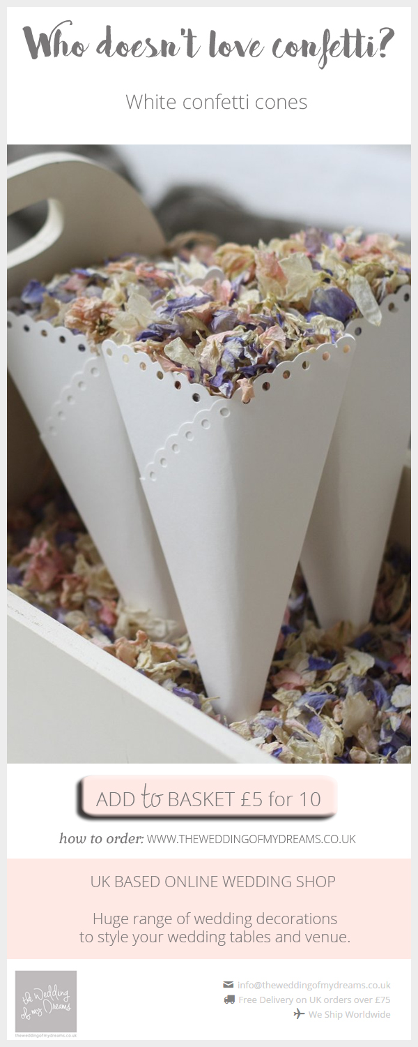 White confetti cones for wedding petals available from @theweddingomd