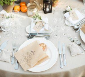 brown paper bag menus with fresh bread