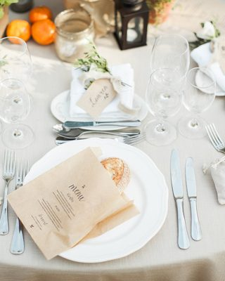 brown paper bag menus with fresh bread