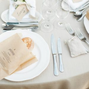 brown paper bag menus with fresh bread sq