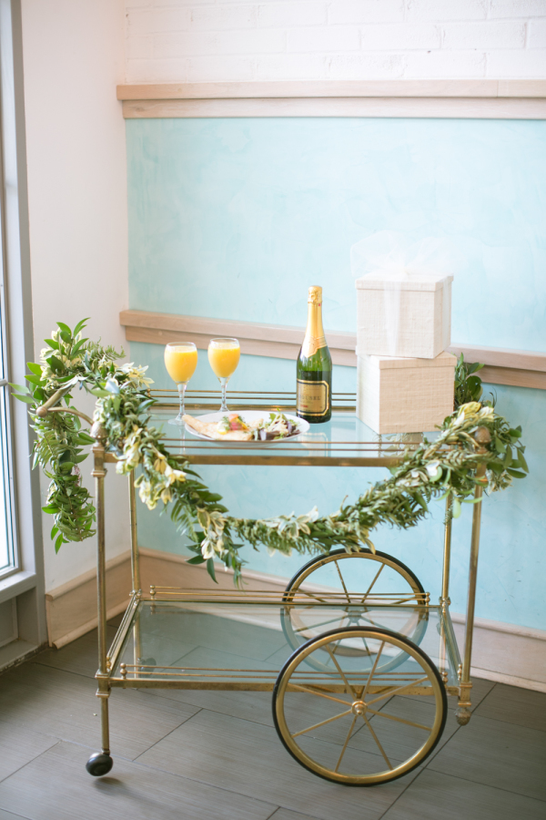 wedding bar cart for champagne bride and groom