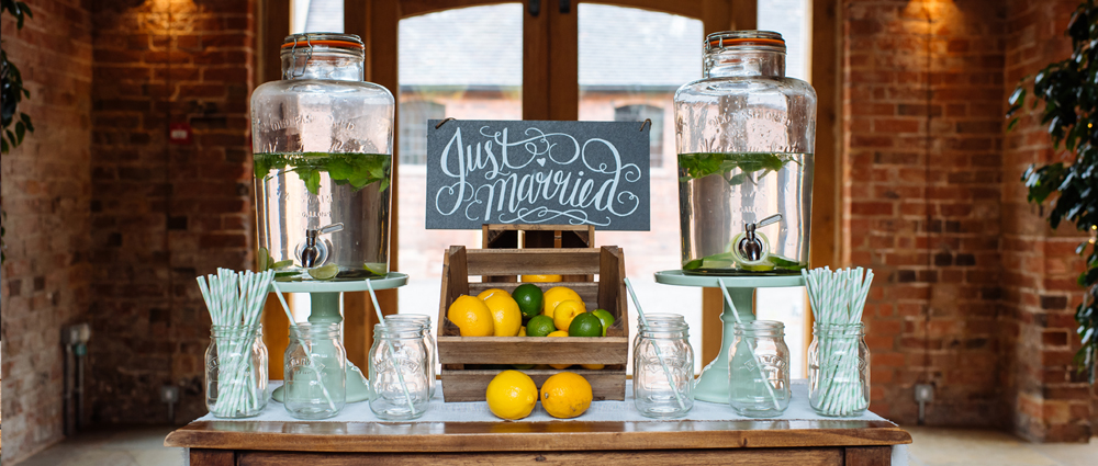 wedding drinks stations drinks dispensers mason jars straws