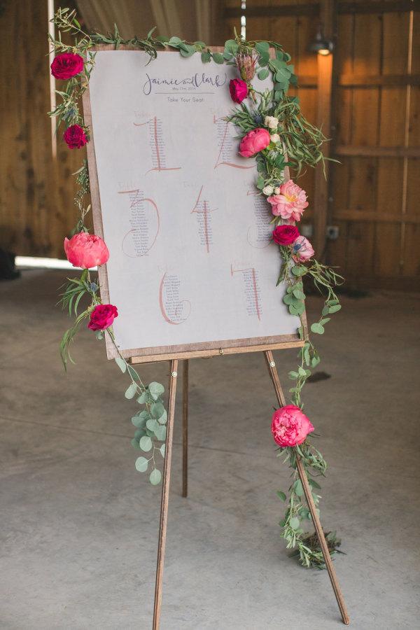 wedding table plan floral garland