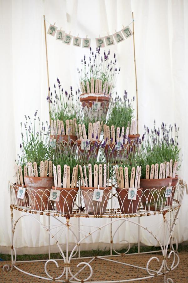 wedding table plan lavender plants