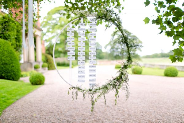 wedding table plan round hanging hoops