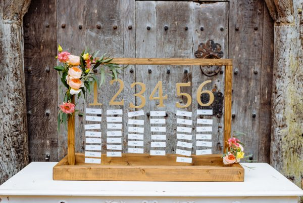 wedding table plan wooden frame