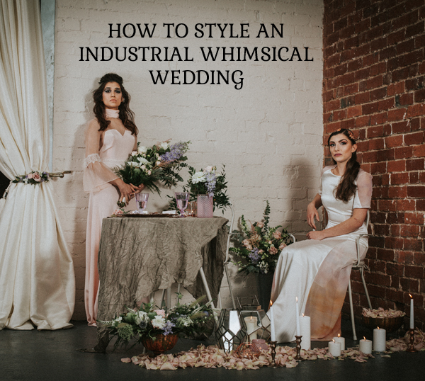 Industrial whimsical wedding styling from the wedding of my dreams terrariums grey table cloths copper candle sticks (2)