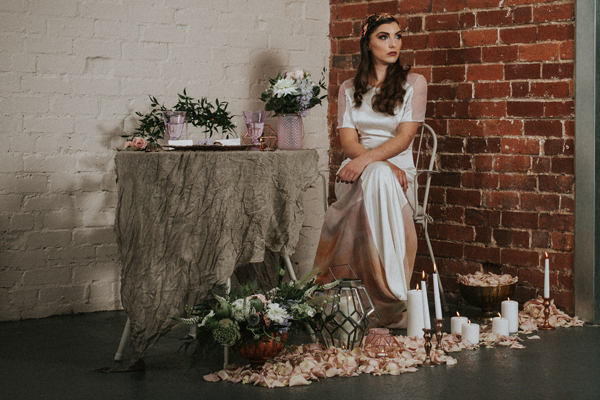 Industrial whimsical wedding styling from the wedding of my dreams terrariums grey table cloths copper candle sticks (3)