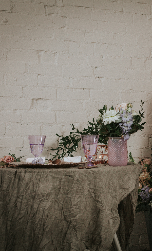 Industrial whimsical wedding styling from the wedding of my dreams terrariums grey table cloths copper candle sticks (4)
