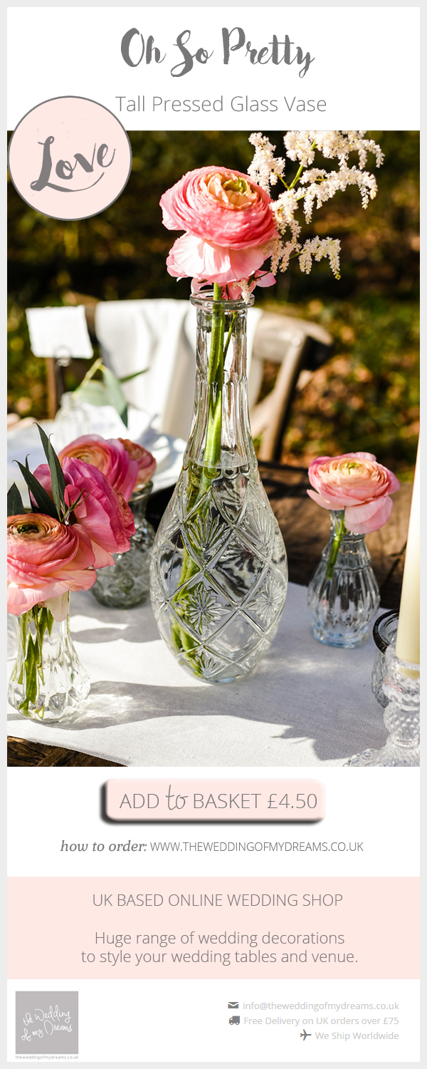 Tall pressed glass vase centrepieces available from @theweddingomd
