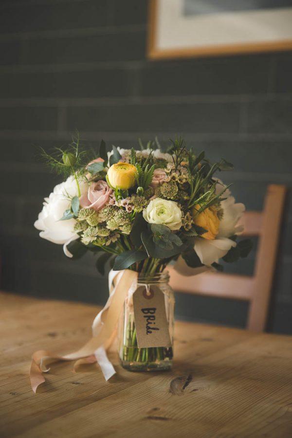wedding bouquet in glass vase