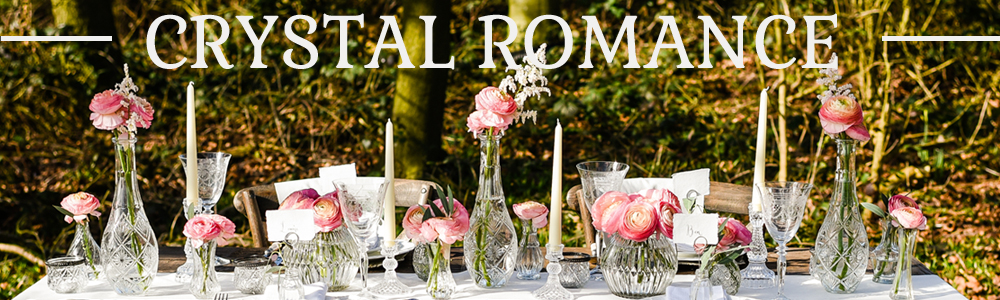 CRYSTAL ROMANCE WEDDING DECORATIONS FOR SALE CRYSTAL PRESSED GLASS VASES CANDLE STICKS