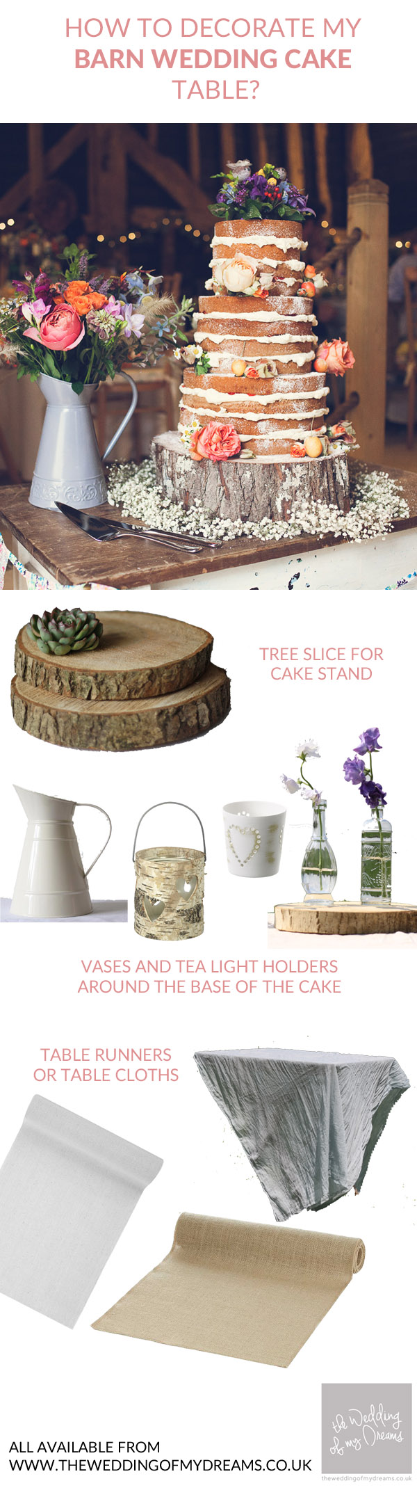 How should I decorate my rustic barn wedding cake table