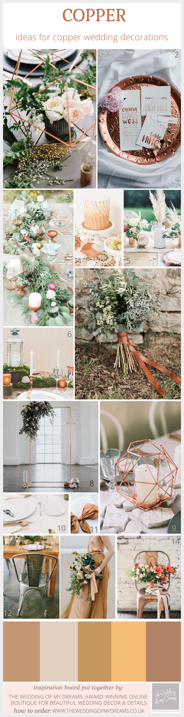copper wedding decorations and ideas