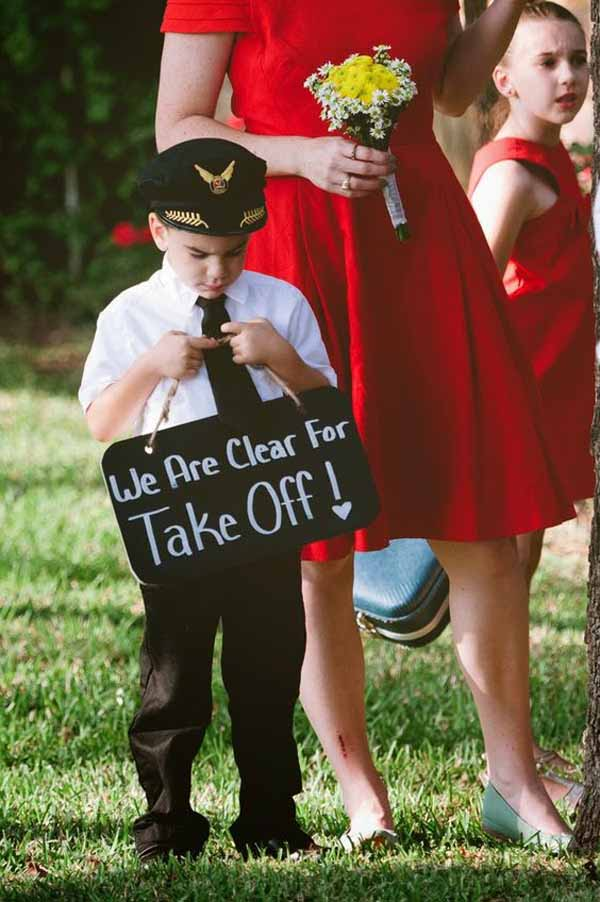 travel theme wedding ideas ceremony signs page boys