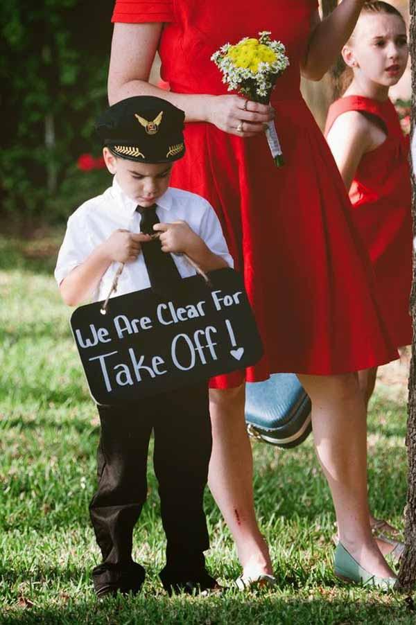 travel theme wedding ideas ceremony signs page boys