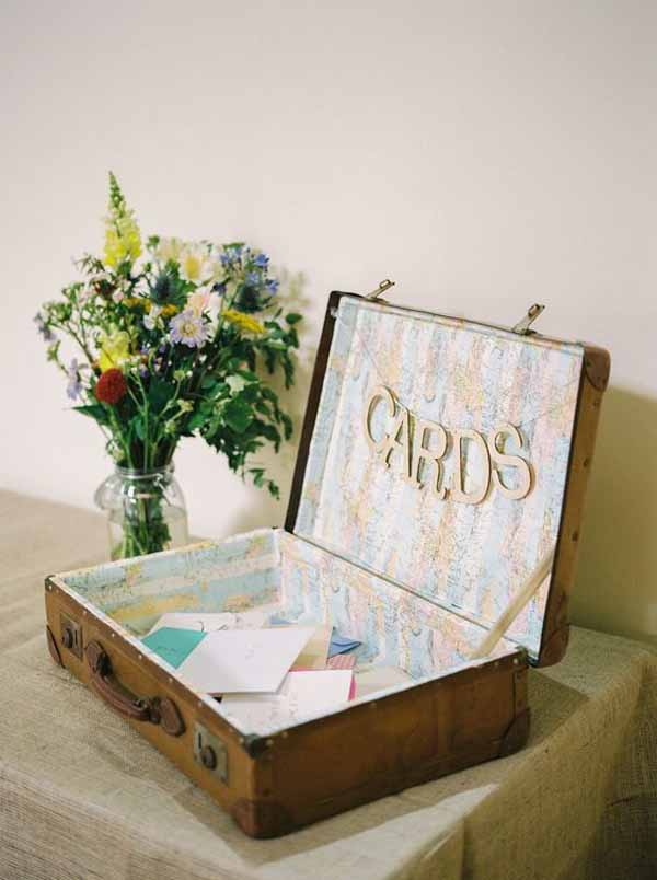 travel theme wedding ideas cards vintage suitcase