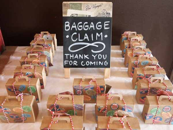 travel theme wedding ideas baggage claim favours