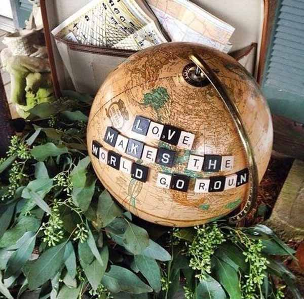 travel theme wedding ideas globe signs