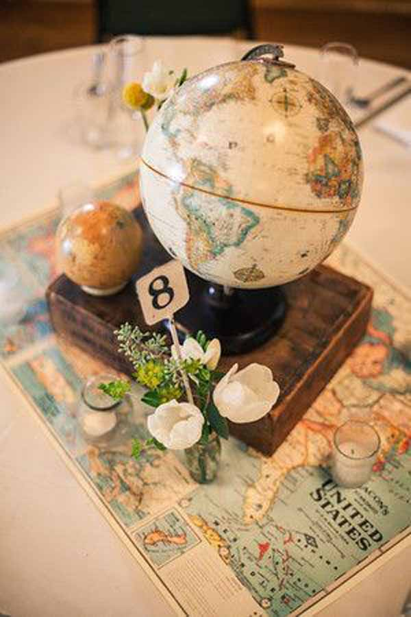 travel theme wedding ideas globe wedding centrepieces