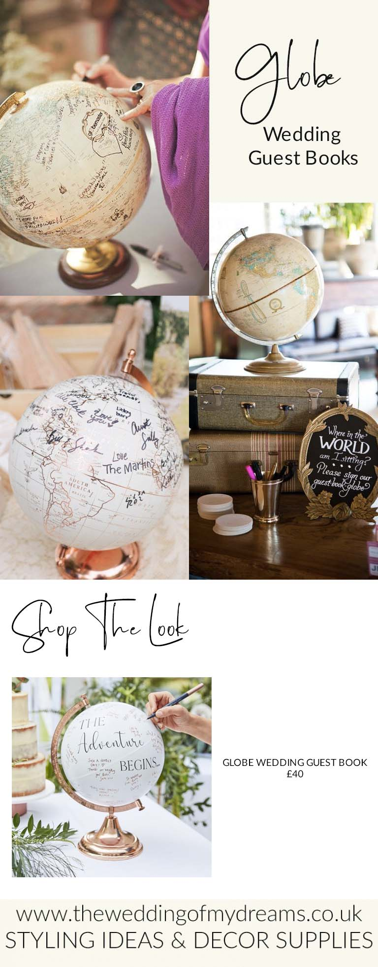 GLOBE WEDDING GUEST BOOKS FOR SALE