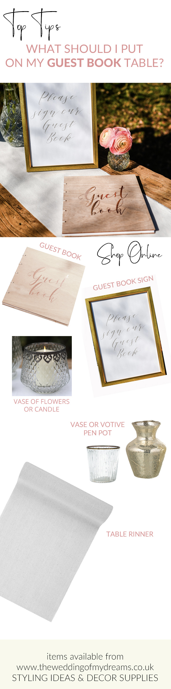 What do you need for your wedding guest book table items available from The Wedding of my Dreams