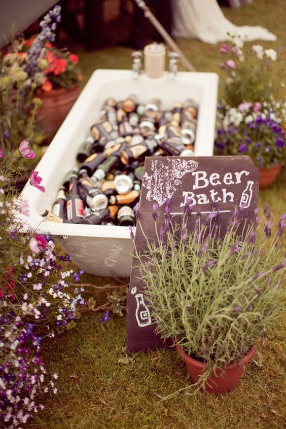 marquee wedding entrance ideas drinks beer bath