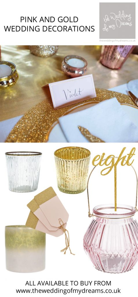 pink and gold wedding decorations