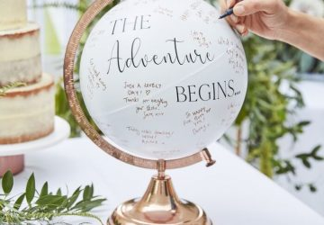 wedding guest book globe the adventure begins here 2
