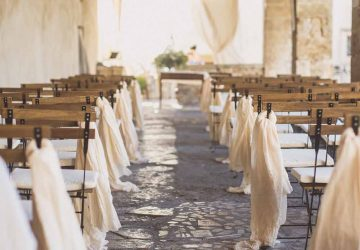 Outdoor wedding ceremony aisle decorations