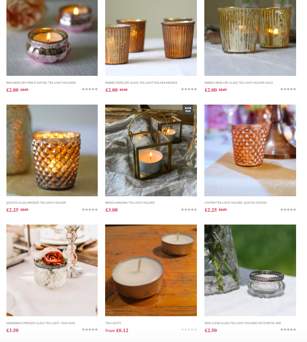 Candles tealights holders weddings