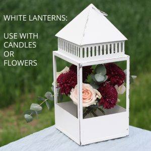 White lanterns for weddings centrepieces sq