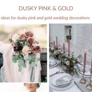 dusky pink and gold wedding decorations and ideas sq