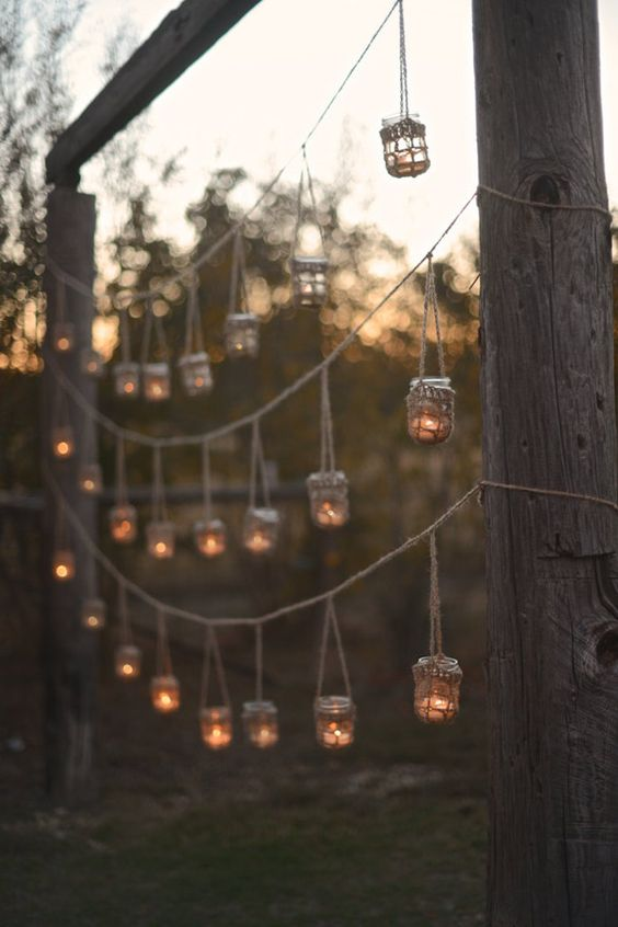 hanging candles displays weddings