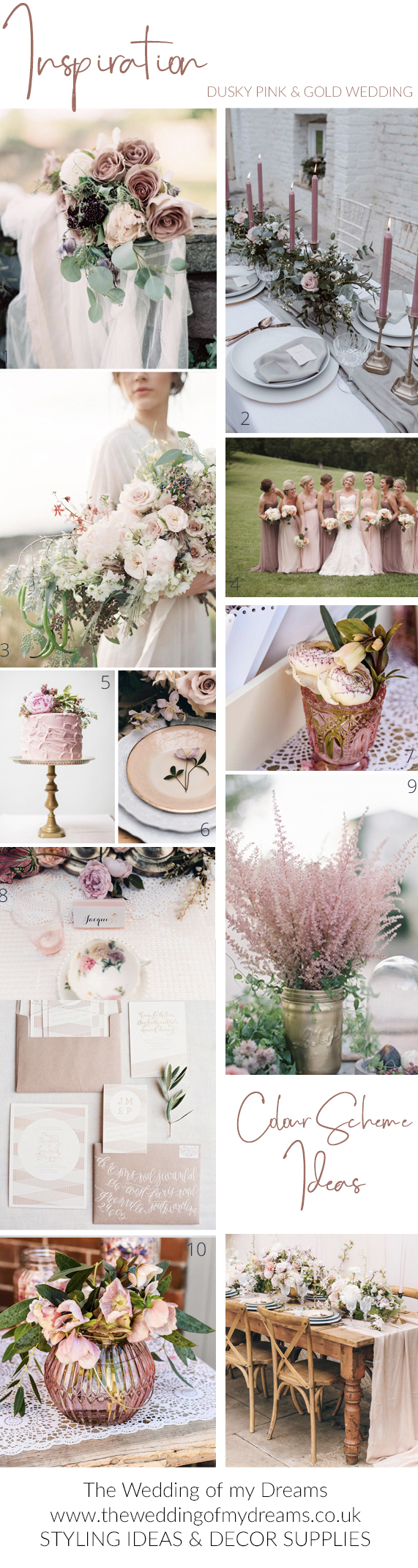 wedding colour scheme ideas dusky pink and gold insiration