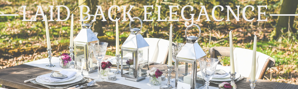 LAID BACK ELEGANT WEDDING DECORATIONS FOR SALE SILVER COACH LANTERN CENTREPIECE NATURAL CREAM RUNNERS GLASS SILVER TEA LIGHT HOLDERS