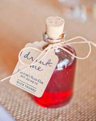 drink me wedding favours for festival weddings