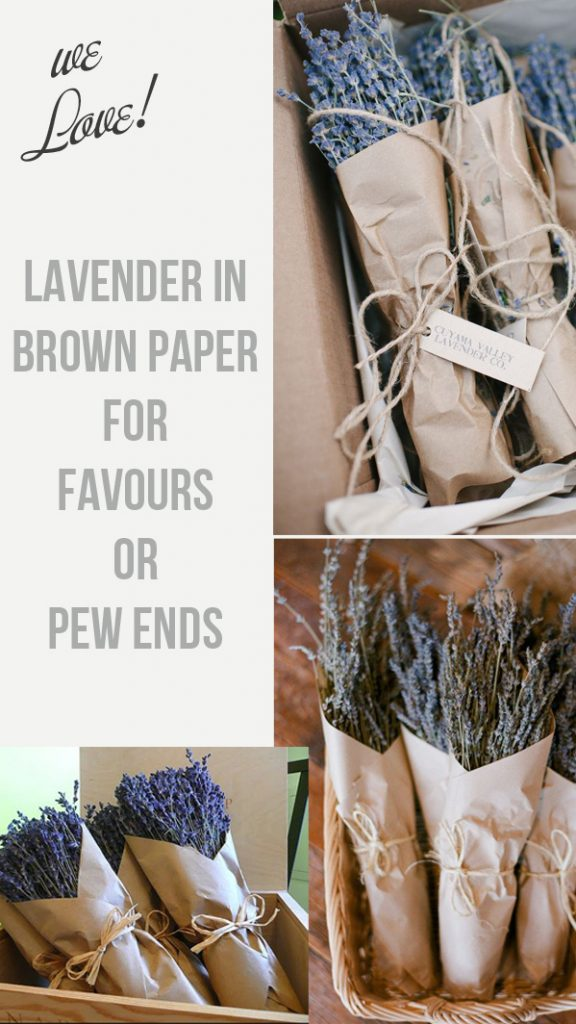 lavender in brown paper wedding favours pew ends